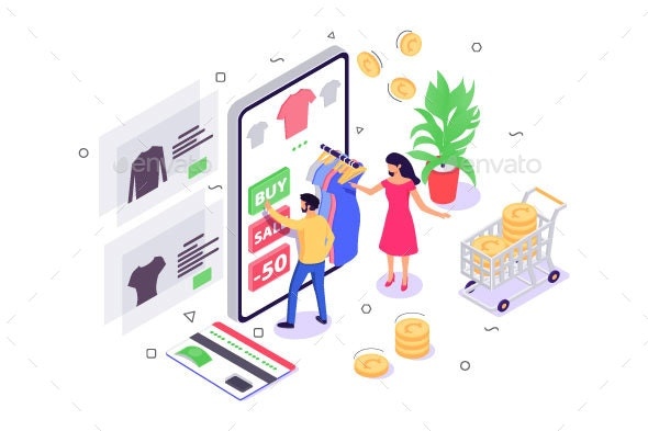 Isometric Young Woman and Man with Mobile Phone - Concepts Business