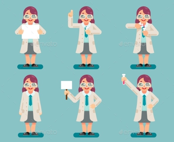 Female Wise Smart Scientist Chemical Test Tubes - People Characters