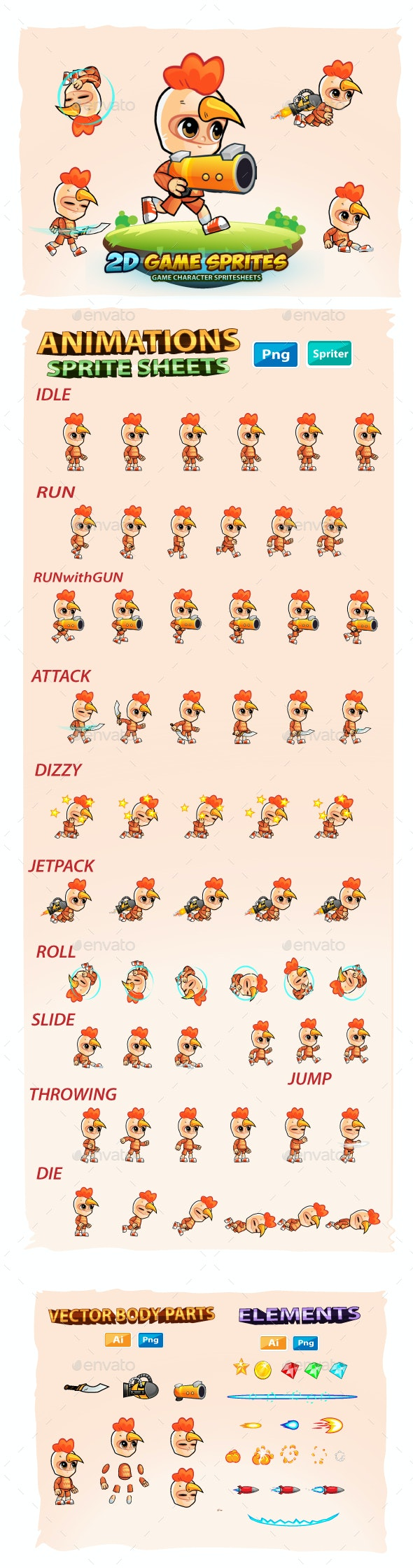 Chicken Boy 2D Game Sprites - Sprites Game Assets