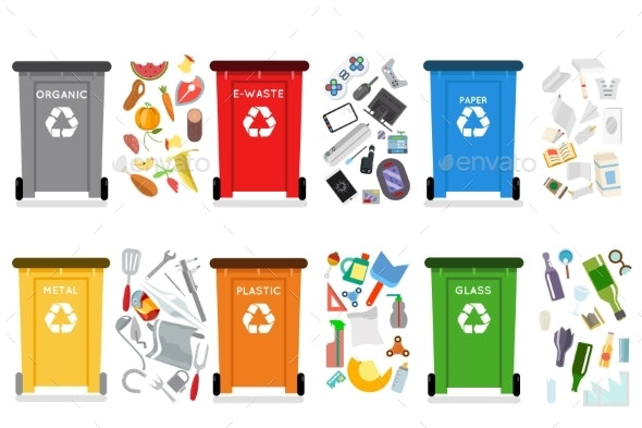 Recycling Garbage Can Trash Container Separation - Miscellaneous Vectors