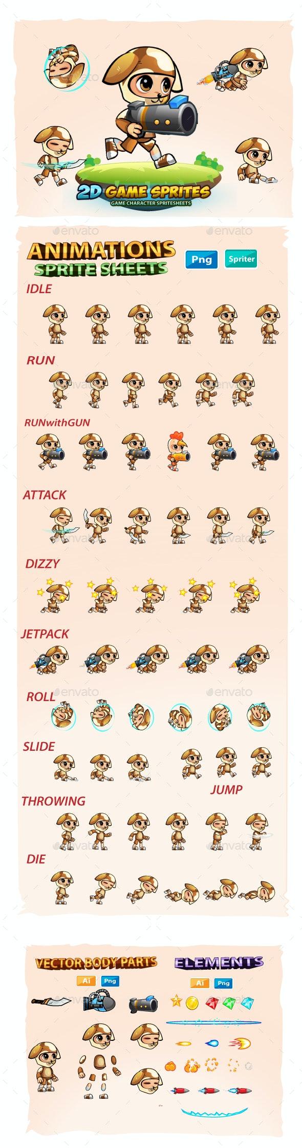 Dogie Boy 2D Game Sprites - Sprites Game Assets