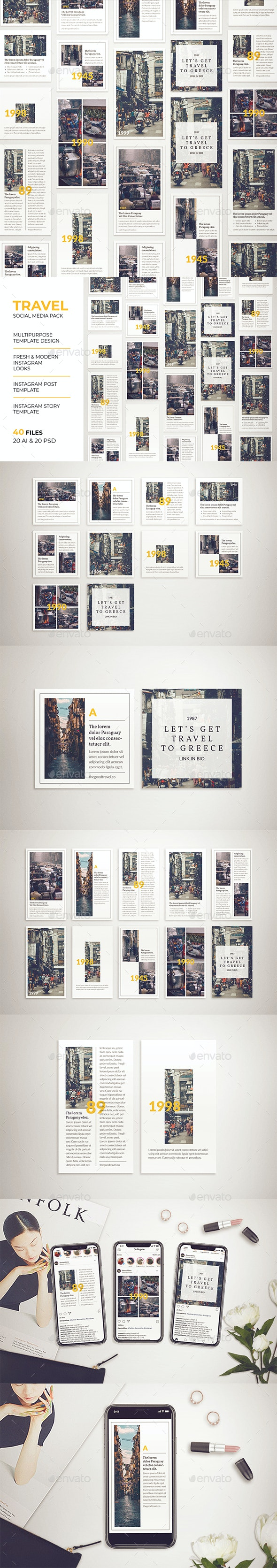 Travel Instagram Post & Instagram Story Template - Social Media Web Elements