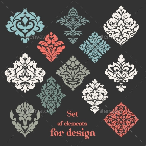 Set of Ornamental Floral Elements for Design - Decorative Symbols Decorative