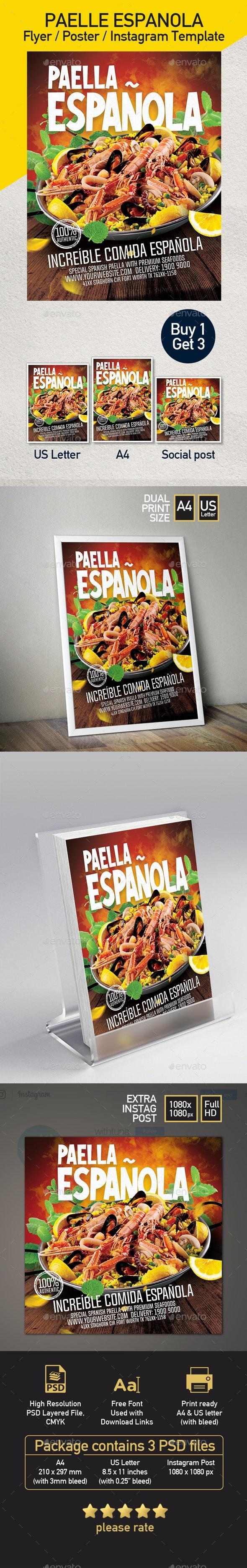 Paella - Spanish Food Flyer - Set of 3 Templates - Restaurant Flyers