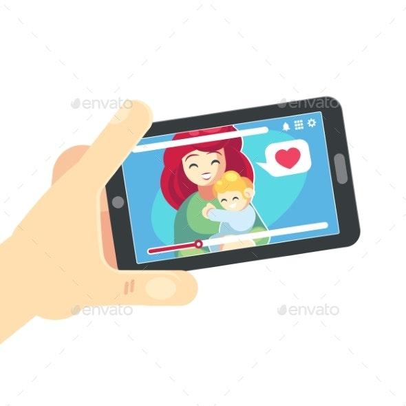Vector Flat Cartoon Illustration of Family Call - Communications Technology