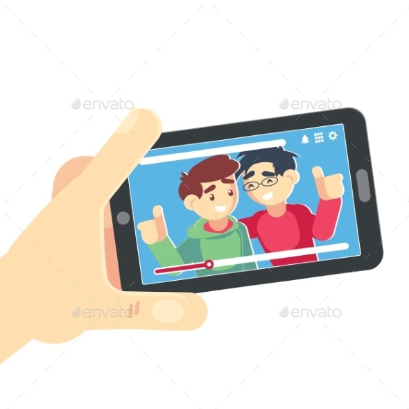 Watching Video on Smartphone Vector Friends - Communications Technology