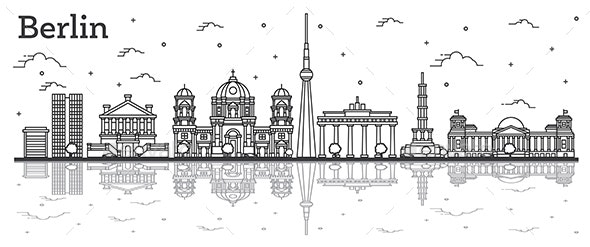 Outline Berlin Germany City Skyline with Historical Buildings - Buildings Objects