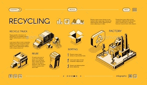 Waste Recycling Process Vector Infographics Slide - Industries Business