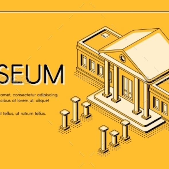 Historical Museum Isometric Vector Landing Page