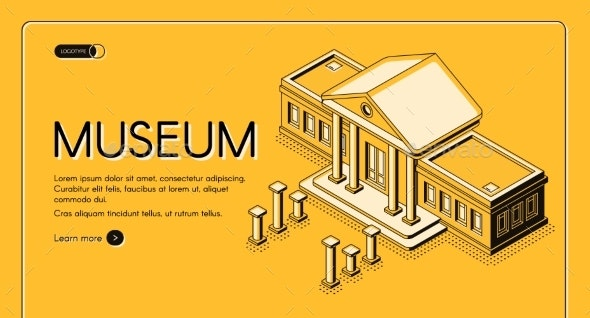 Historical Museum Isometric Vector Landing Page - Buildings Objects
