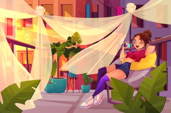 Young Woman Relaxing on Balcony Cartoon Vector - People Characters