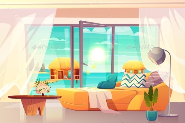 Tropical Resort Hotel Room Interior Cartoon Vector - Travel Conceptual