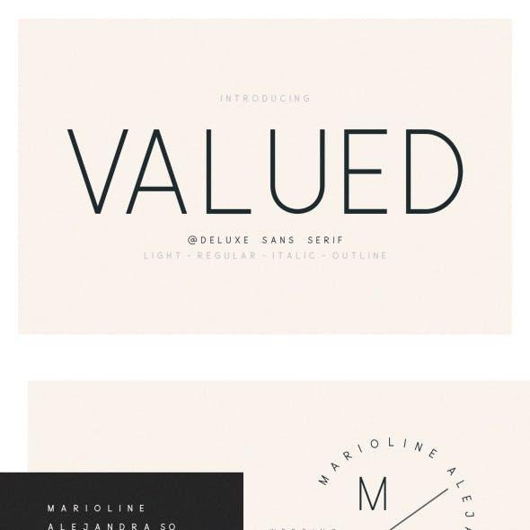 Valued – A Deluxu Sans Serif Family