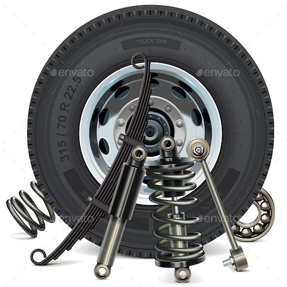 Vector Truck Wheel with Suspension Parts - Industries Business