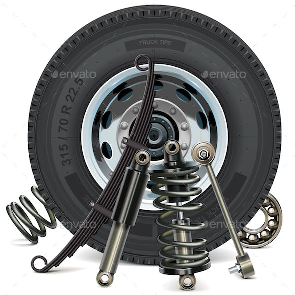 Vector Truck Wheel with Suspension Parts