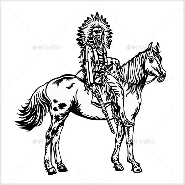 Native American - Rider on Horse - People Characters