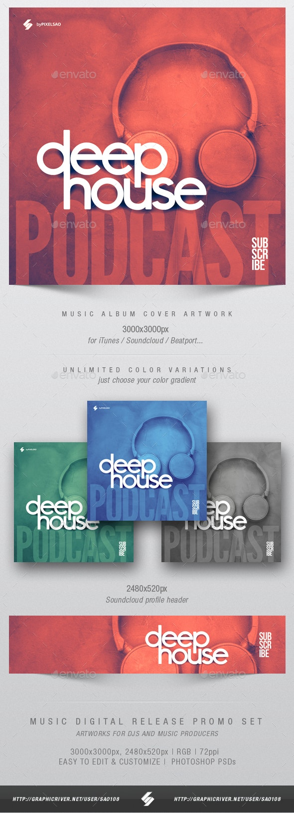 Deep House Podcast - Album Cover Design Template - Miscellaneous Social Media