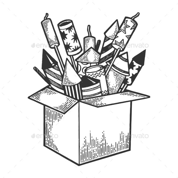 Box with Fireworks Sketch Engraving Vector - Miscellaneous Seasons/Holidays