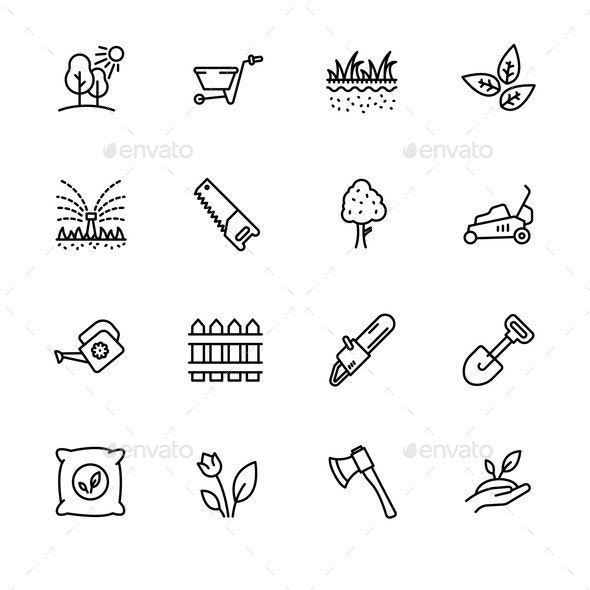 Icon Set Gardening Agriculture and Horticulture - Flowers & Plants Nature