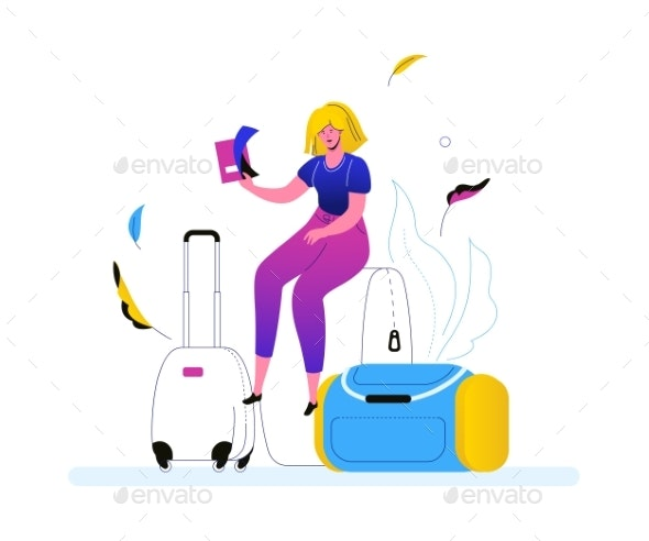 Going on Vacation - Colorful Flat Design Style - Travel Conceptual
