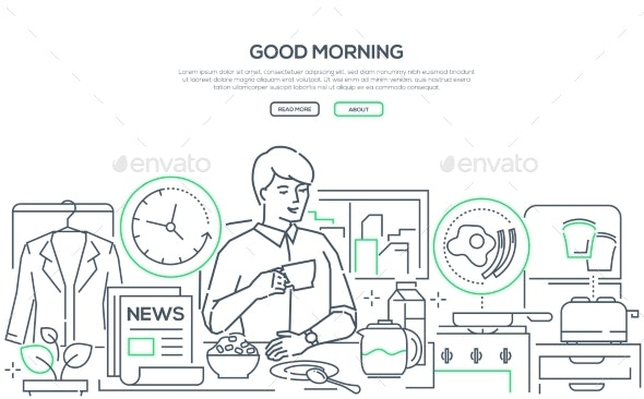 Good Morning - Line Design Style Web Banner - People Characters