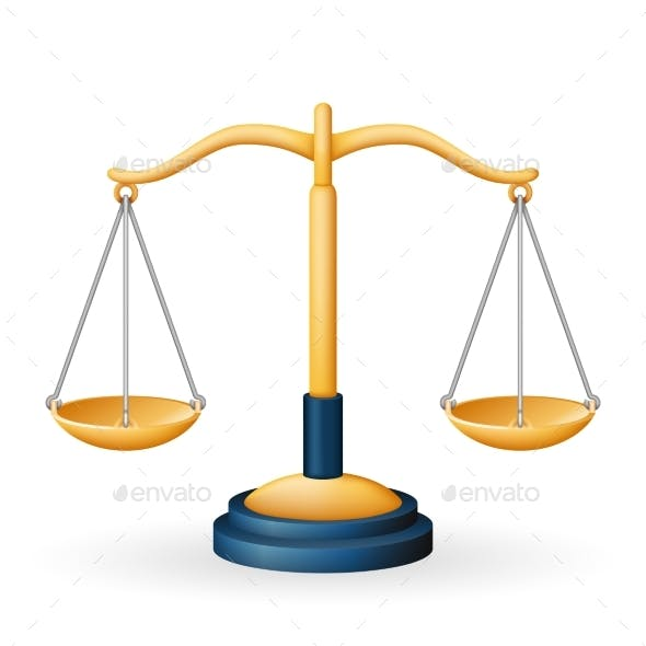 Golden Justice Scales Law Equality Balance Measure