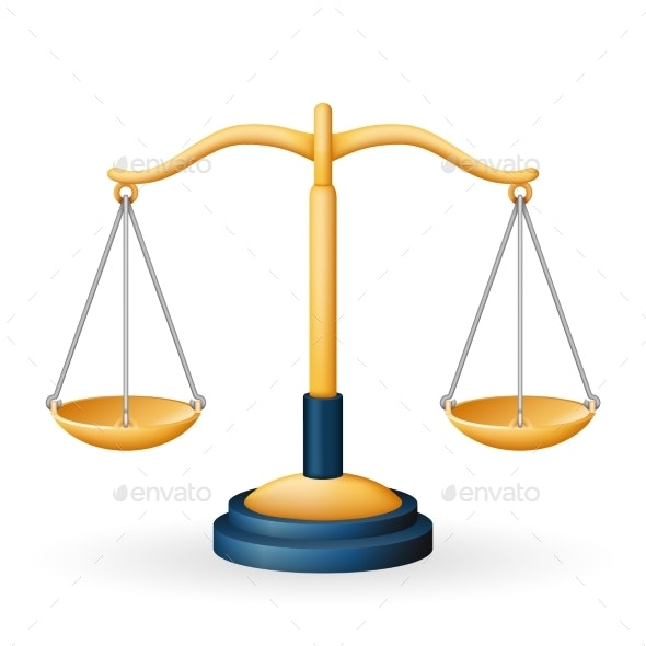Golden Justice Scales Law Equality Balance Measure - Man-made Objects Objects