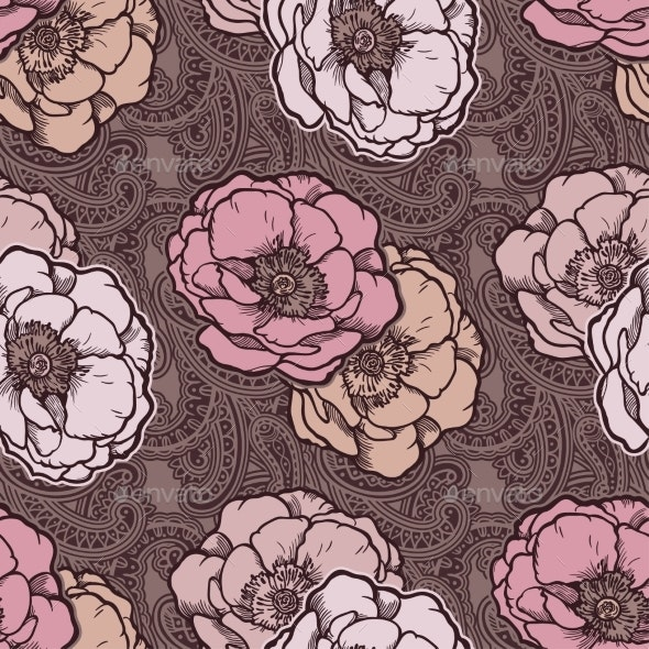 Bohemian Floral Paisley Seamless - Backgrounds Decorative