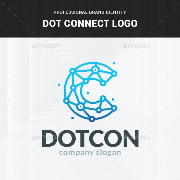 Dot Connect - Letter C Logo