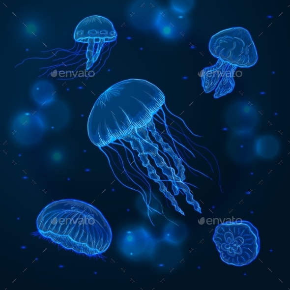 Hand Drawn Sketch Isolated Jellyfish - Animals Characters