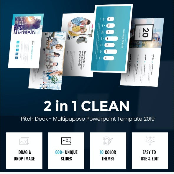 2 in 1 Clean Pitch Deck - Multipurpose Powerpoint 2019