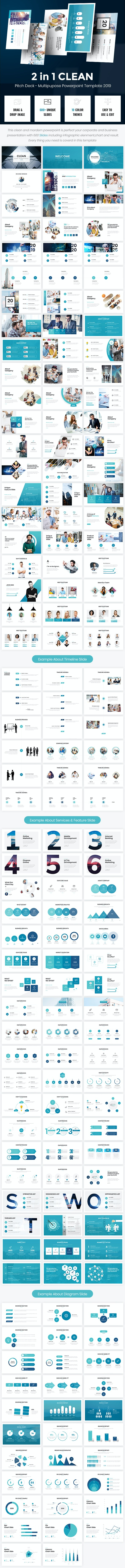 2 in 1 Clean Pitch Deck - Multipurpose Powerpoint 2019 - PowerPoint Templates Presentation Templates
