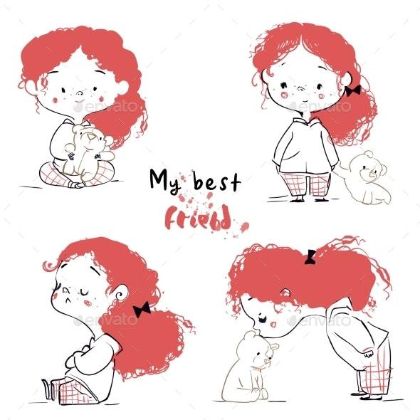 Cartoon Girl with Teddy Bear - People Characters