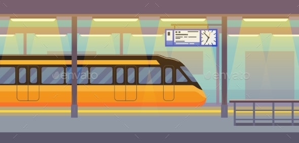Modern Passenger Electric Train in Tunnel - Miscellaneous Vectors