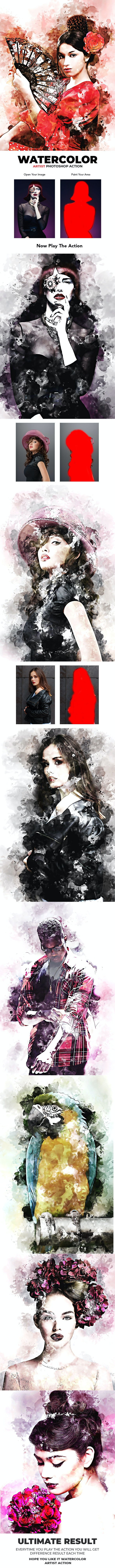 Watercolor Artist Photoshop Action - Photo Effects Actions
