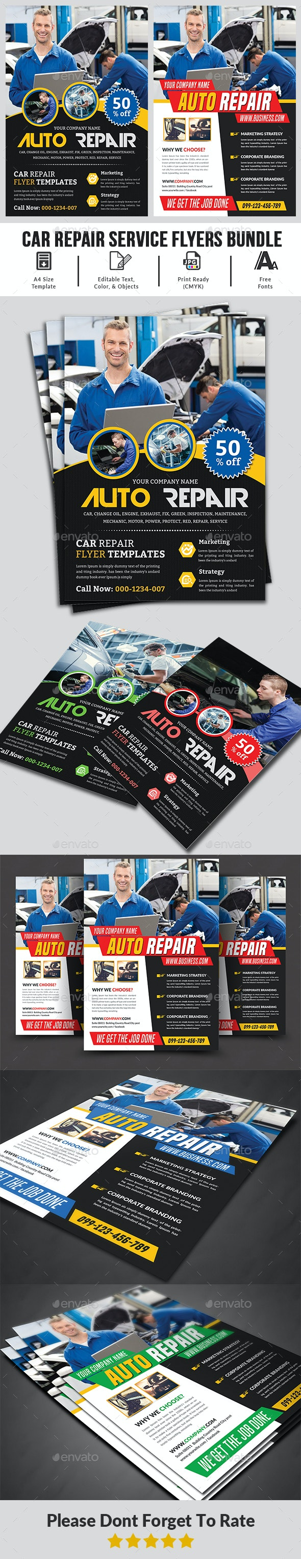 Car Repair Flyers Bundle - Corporate Brochures