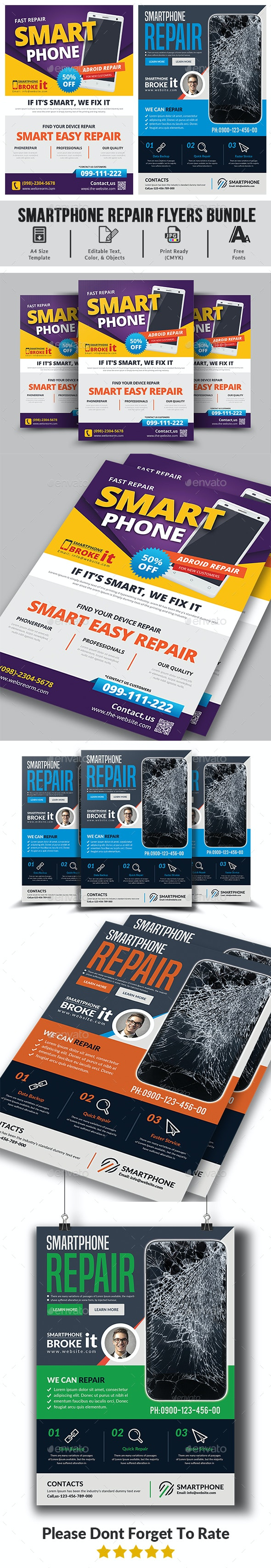 Smartphone Repair Flyers Bundle - Corporate Flyers