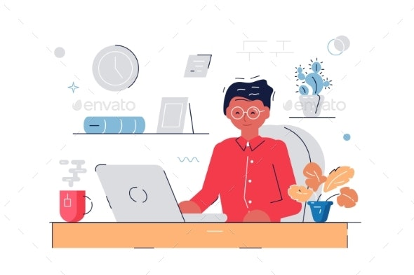Woman Working at Computer - Concepts Business