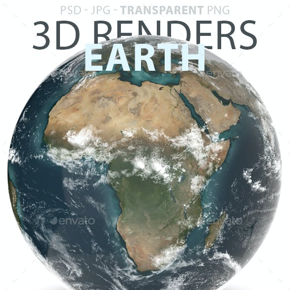 Planet Earth Day & Night 3D Renders