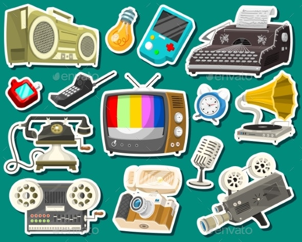 Vintage Devices Icons - Retro Technology