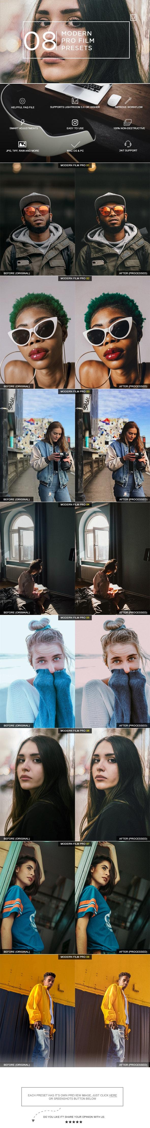 8 Modern Film Pro Presets - Film Lightroom Presets