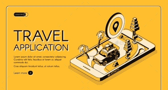 Travel Application Isometric Vector Web Banner - Travel Conceptual