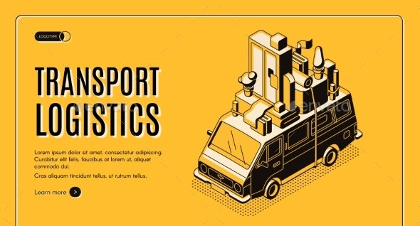 Transport Logistics Service Vector Web Banner - Industries Business