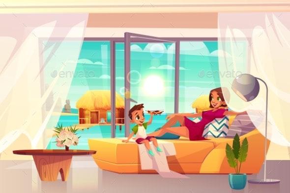 Resting in Luxury Hotel Apartment Cartoon Vector - Travel Conceptual
