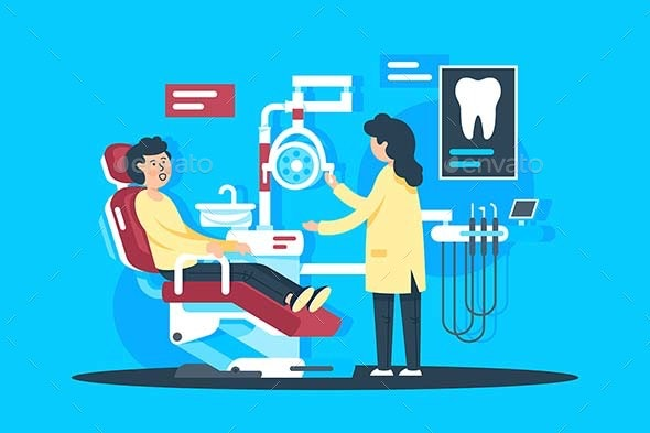 Flat Young Man at Woman Dentist with Drill - Health/Medicine Conceptual