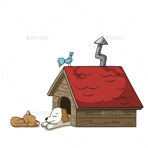 Sleeping Cat and Dog - Animals Characters