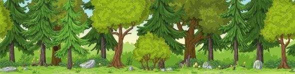 Seamless Forest Landscape - Flowers & Plants Nature