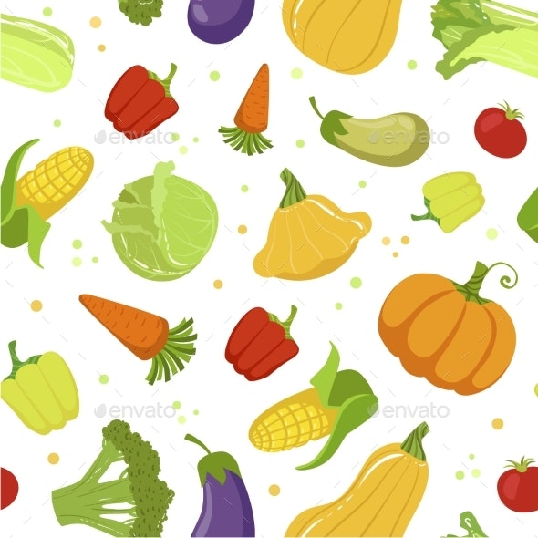 Colorful Farm Fresh Vegetables Seamless Pattern - Food Objects