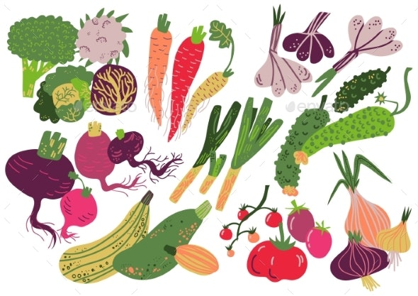 Vegetables Set Healthy Nutrition Food - Food Objects