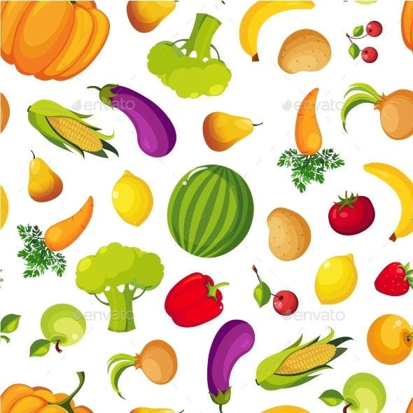 Colorful Farm Fresh Fruit and Vegetables Seamless - Food Objects